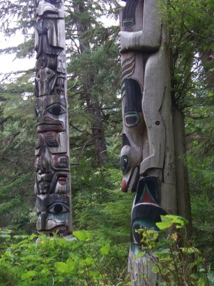 Totems along Kasaan's serene Totem Trail. (Photo L Sylvia Sept 2008)