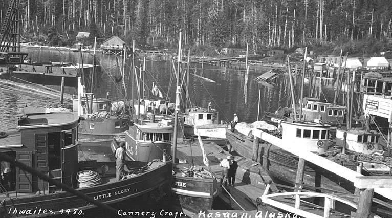 Kasaan 15 Fishing boats in harbor, Kasaan, Thwaite, ca 1912.