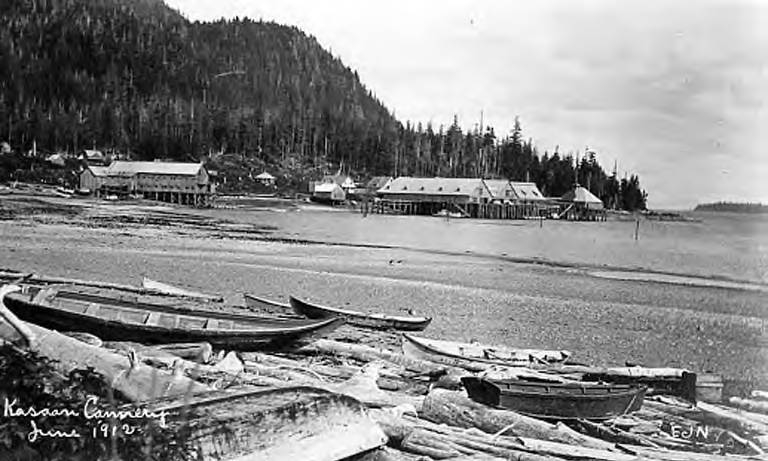Kasaan 4 Kasaan cannery with wooden boats in foreground Kasaan, Thwaite, June 1912