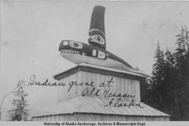 Kasaan 9 Indian grave_at Old Kasaan, JW Webber, ca 18901900
